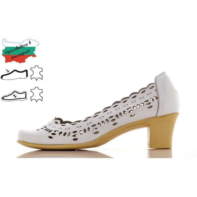77b00e76df6 Дамски Обувки с Перфорация - 1350561-1 - Бяло Кожа