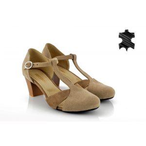 Дамски Обувки на Ток - 1370743 - Бежов Велур